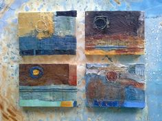 4 moons - beeswax collage