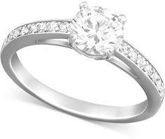 Swarovski Rhodium-Plated Round-Cut Clear Crystal Ring - $99.00