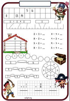 Otra de las versiones que no había compartido es esta con la temática de los piratas, suelo hacer una cada semana aunque no siempre las Math 4 Kids, Preschool Math, Math Classroom, Teaching Math, Math Activities, Lessons For Kids, Math Lessons, Math Tables, Happy Birthday Posters