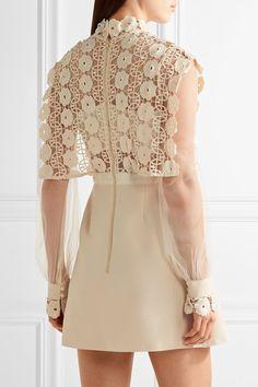 Self-Portrait - Guipure Lace, Crepe And Tulle Mini Dress - Cream - UK12