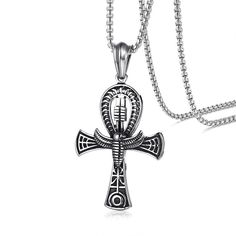 Meaeguet Punk Street Key To Life Egypt Cross Necklaces For Men Middle Ages Stainless Steel Totem Scarab Ankh Pendant Jewelry Ancient Egyptian Religion, Ancient Symbols, Pendant Jewelry, Pendant Necklace, Egyptian Scarab, Cross Designs, Stainless Steel Jewelry, Men Necklace, Luxury Jewelry