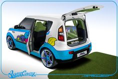 Kia partnered with West Coast Customs to create a one-of-a-kind ride inspired by professional golfer Michelle Wie. Wie's personal artwork is showcased inside-and-out of this golf-themed Kia Soul.