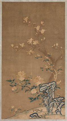 Magnolia, Crabapple, and Tree Peony Period: Qing dynasty Date: late century Culture: China Medium: Silk embroidery on silk gauze Dimensions: Sight: 49 x 26 in. Chinese Painting, Chinese Art, Tree Peony, Chinese Embroidery, Qing Dynasty, World Of Color, Chinese Culture, Art Object, Types Of Art