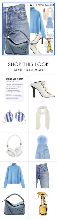 """LUISAVIAROMA"" by nefertiti1373 ❤ liked on Polyvore featuring Anna K, J.W. Anderson, Frends, Moncler, Levi's, Loewe, Moschino and Axiology"