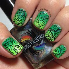Newsie Nail Novice: Bundle Monster Shangri-La stamping over Green Gradient