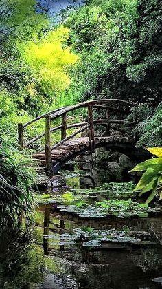 enchanted bridge- Isamu Taniguchi Japanese Garden& Togetsu-kyo bridge at Zilker Botanical Gardens in Austin, Texas Japanese Garden Design, Modern Garden Design, Landscape Design, Japanese Gardens, Modern Design, Pond Design, Japanese Nature, Beautiful Landscapes, Beautiful Gardens
