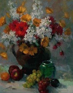 Poppies and Stocks Deco, Art Oil, Still Life, Poppies, Pastel, Paintings, Canvas, Rose, Drawings