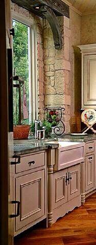 Aged zinc counter tops, break away stone window surround and reclaimed window beam created by Leodowellinteriors.com #zinccountertops,#frenchcountryinteriors,#customcabinets,