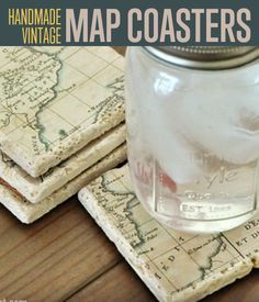 *******DIY Vintage Map Coasters
