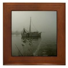 """Shrimp boat in the mist Framed Tile by CafePress by CafePress. $15.00. Quality construction frame constructed of stained Cherrywood. Two holes for wall mounting. Rounded edges. 100% satisfaction guarantee return policy. Frame measures 6"""" X 6"""" x 0.5"""" with 4.25"""" X 4.25"""" tile. A shrimp boat leaves the dock in the early morning mist."""