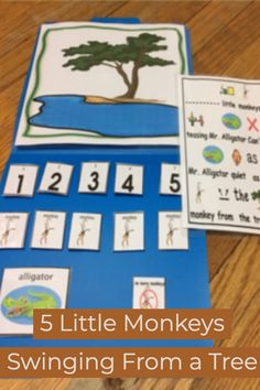 5 Little Monkeys Swinging from a Tree: Circle Time Fun Interactive File Folder Pe Lessons, Preschool Lessons, Art Classroom, Classroom Resources, Teaching Resources, Pe Lesson Plans, Circle Time Songs, Five Little Monkeys, Math Concepts