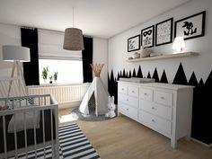 Black confetti_3D_4 Baby Bedroom, Baby Boy Rooms, Little Girl Rooms, Baby Room Decor, Baby Boy Nurseries, Nursery Room, Kids Bedroom, Monochrome Nursery, White Nursery
