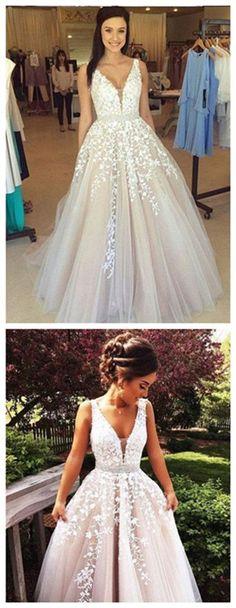 V Neck Wedding Dress,wedding dresses,Prom Dress,Long Prom Dresses,Sexy Prom Dress,Formal Dress,Evening Dresses