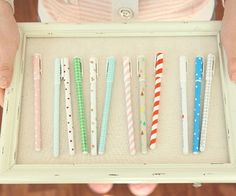 pretty pens! // $4 - I know it's supposed to be about the pins, but I love the idea of an old frame used for a tray!