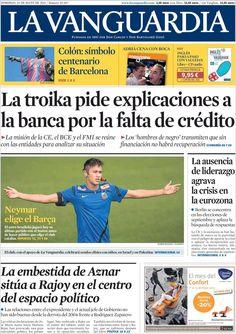 Los Titulares y Portadas de Noticias Destacadas Españolas del 26 de Mayo de 2013 del Diario La Vanguardia ¿Que le parecio esta Portada de este Diario Español?