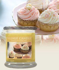 Vanilla Cupcake-Glass Pillar Collection - Warm Vanilla Cupcake, spun sugar and sweet butter frosting.