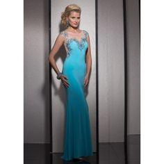 Clarisse 2603 - Aqua Beaded Illusion Jersey Dress - RissyRoos.com