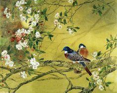 Скачать обои цветы, птицы на ветке цветущей вишни 1280x1024