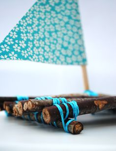 Such fun to make with children in the summer. Twigs and twine and a little sail...