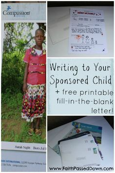 Free Printable Letter to Sponsored Child