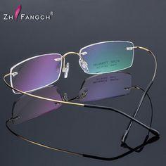 e3bbde46a36 ZHFANGCH 2016 New Titanium Brand Silhouette Rimless Glasses Frame  Eyeglasses Men women With Original Case Oculos de grau-in Eyewear Frames  from Men s ...