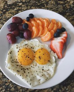 2 sunny side up eggs with clementines, strawberries, blueberries and grapes fueling my body for my run this afternoon!
