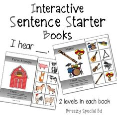 """I Hear"" Interactive / Adapted Sentence Starter Book - special education and speech therapy"