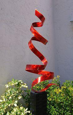 Garden Metal Art Modern Abstract Sculpture / Red Twist By Jon Allen