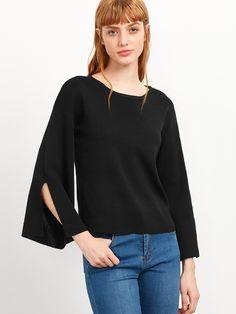 Black Split Sleeve Knitwear — 0.00 € ----------------------------color: Black size: one-size
