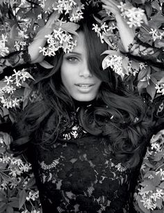 Freida Pinto  Posed with jasmine blossoms on the Martinez Hotel terrace during the Cannes Film Festival 2012.