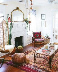 Antique mirror, boho, colorful decorating inspiration.