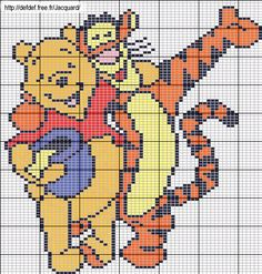 Winnie and Tigger perler bead pattern Xmas Cross Stitch, Cross Stitch Pillow, Cross Stitch Baby, Cross Stitch Kits, Cross Stitching, Knitting Charts, Knitting Patterns, Crochet Pixel, Pixel Art Templates