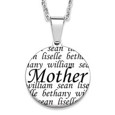 Buy Everscribe Mother Engraved Family Names Necklace at Limoges