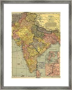 1902 Map Of India, Then A Colony Framed Print by Everett