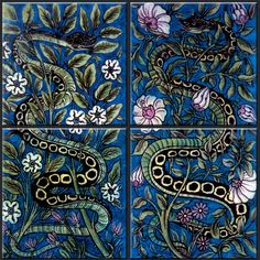 William DeMorgan Persian Serpent Tile Panels, probably produced at Merton Abbey during his Fulham period. They are representative of De Morgan's Persian color palette: primarily Persian blue (a medium to dark blue), green, strong yellow, a slightly yellow green, with varying shade of mangese purple and Indian red. Available in 4.25, 6, and 8 inch ceramic from williammorristile.com