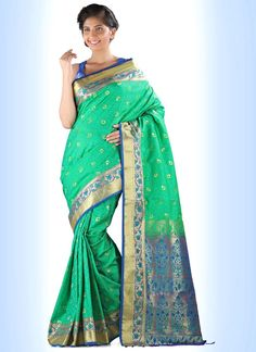 Arresting Print Work Sea Green Casual Saree