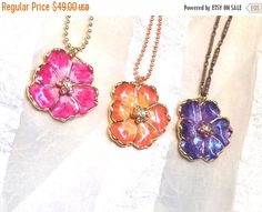 SALE 20% OFF Upcycled Vintage Necklaces With Vintage Swarovski Flower Creations in Pink Orange and Purple