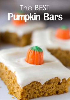 The BEST pumpkin bar recipe - Love with recipe- jsut switch out Veg oil..