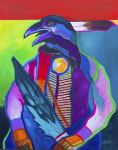 """Have you seen the new original #artwork from John Nieto? Pictured here is Medicine Raven, Acrylic / Canvas Size: 24"""" x 30"""""""