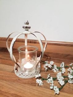 Shabby Chic Wooden House Shaped Triple Tea Light Candle Holder with Mirror Back