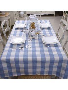 Mediterranean Style Blue Plaid Table Cloth