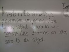 Passive Voice - good notes on when and why to use active voice Grammar Review, Good Grammar, Teaching Grammar, Teaching English, English Grammar, English Language, Language Arts, Active And Passive Voice, Active Voice