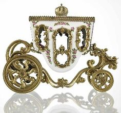 Viennese Austrian Enamel Miniature Carriage with...