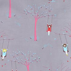 I'm not usually a fan of wallpaper, but this is too cute! (Girl on a Tree Swing Scooter Grey from the Sherbet Pips collection by Aneela Hoey for Moda) Craft Activities For Kids, Crafts For Kids, Arts And Crafts, Craft Ideas, Little Girl Rooms, Of Wallpaper, Wallpaper Ideas, Love Design, Kid Spaces