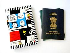 Snoopy Passport Wallet passport cover for 2 passport card Passport Card, Passport Cover, Snoopy Comics, Finishing Materials, Travel Gifts, Wallets For Women, Hand Sewing, Card Holder, Etsy Shop
