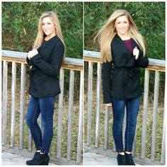 Cold weather calls for this cozy black jacket! Pair it with booties to make the perfect winter outfit!