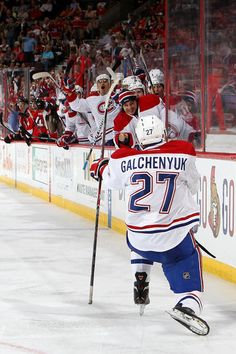 May 7 - Alex Galchenyuk lines up his pounds after scoring his first ever playoff goal.
