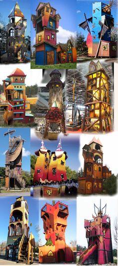 These unique imaginative playgrounds with slide towers were build by our creative wood design company. Diese einzigartigen fantasievollen Holz-Spielplätze mit Rutschentürmen wurden durch unsere künstlerische Holzgestaltung errichtet. #Robinie #Robinienholz #Rutschenturm #Spielanlage #Spielplatz #Rutsche #Rollenspiel #Spaß #Abenteuer #Fantasie #robinia #robiniawood #playground #playfield #park #woodenpark #slide #slide tower #roleplay #fun #fantasy