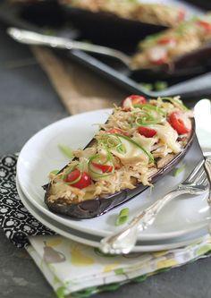 Cheesy Chicken Stuffed Eggplant | runningtothekitchen.com by Runningtothekitchen, via Flickr