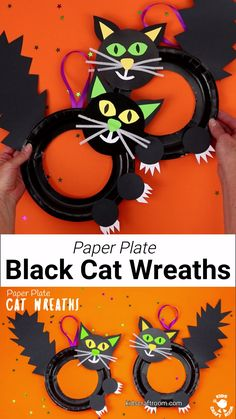 This Halloween Black Cat Wreath Craft is so cool and easy to make! Such a great Halloween craft for kids of all ages and a fun way to decorate the home or classroom. We just love the black cat crafts bushy tails and feisty claws! Halloween Arts And Crafts, Halloween Activities For Kids, Halloween Party Games, Halloween Diy, Halloween Black Cat, Vintage Halloween, Holiday Crafts, Toddler Crafts, Kids Crafts